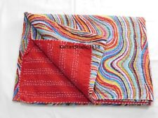 Striped Bedding Screen Decor Reversible Kantha Quilt Queen Size Bedspread Indian