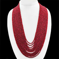 AMAZING 1258.30 CTS NATURAL 12 STRAND RUBY ROUND SHAPED BEADS NECKLACE (RS)