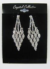 Silver Clear Rhinestone Crystal Dangle Earrings Wedding Prom Bridal # 5788 New