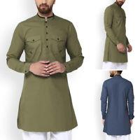 Men's Vintage Style Kurta Henley Shirt Button Up Tops Short Kaftan Indian Blouse