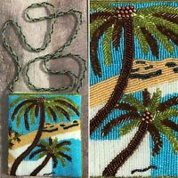 Ermo Beaded Palm Tree Small Crossbody Purse Green Blue