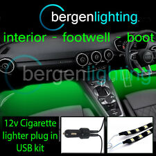 2X 300MM GREEN USB 12V LIGHTER INTERIOR KIT 12V SMD5050 DRL MOOD LIGHTING STRIPS