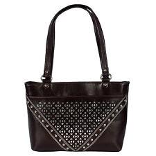 ZINT Genuine Leather Brown Silver Boho Shoulder Bag Women's Handbag Purse Laser