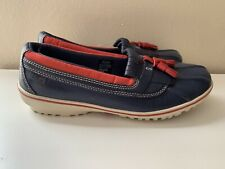 LL Bean Womens sz 11 M Blue-Red Bar Harbor Rain Waterproof Shoes Tassel Tie
