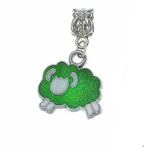 Zodiac Aries Ram Green White Enamel Dangle Bead fits European Charm Bracelets