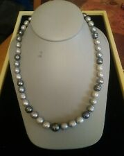 """HONORA STERLING SILVER MULTI-COLOR GRAY RINGED PEARLS NECKLACE 19-1/2"""""""