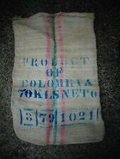 VINTAGE JUTE HESSIAN BURLAP SACK BAG COFFEE ADVERTISING RUSTIC