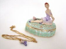 Jeweled Trinket Hinged Box - Ballerina and pink rose with matching necklace