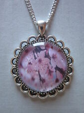 Cherry blossom glass cabochon pendant charm necklace silver pink 21 inch chain
