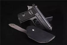 Pistol Gun PPK Lighter Metal Windproo Creative + Leather Case Black/Silver