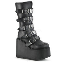 "Demonia 5.5"" Huge Platform Black Vegan Buckle Metal Heart Plated Boots Goth 6-12"