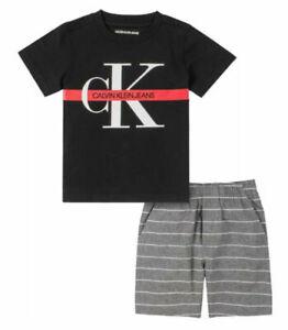 Calvin Klein Boys S/S Black Top 2pc Short Set Size 2T 3T 4T 4 5 6 7 $55