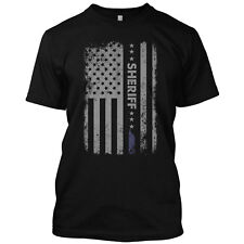 Sheriff Flag Thin Blue Line US Flag Patriotic T Shirt Police Graphic Tee