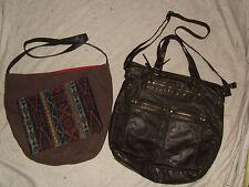 Mossimo Brown PVC Satchel Cross-body Handbag + World Market Brown Canvas Handbag