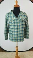PENDLETON Women's Virgin Wool Full Zip Drawstring Jacket Hood Plaid Medium M USA