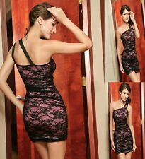 Sexy Pink Black Single Shoulder Cocktail Dance Party Club Dress New Size S 8 10