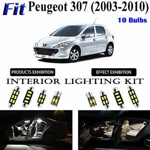 10 Bulbs Super White LED Car Interior Dome Light Kit For Peugeot 307 2003-2010