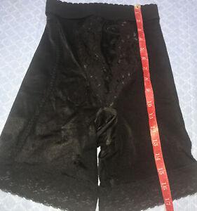 NEW Vassarette 41-002 Size M Black Tummy Control Panel Thigh Length Shapewear
