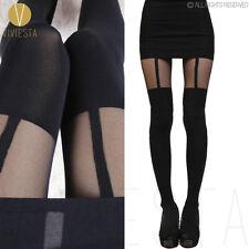 PLAIN MOCK SUSPENDER TIGHTS - Women's Sexy Sheer Black Knee Stocking Pantyhose