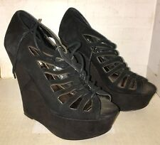 "STEVE MADDEN ~ ""WATCHOUT"" LACE UP WEDGE HEEL ~ BLACK SUEDE LACE UP ~ Size: 7"