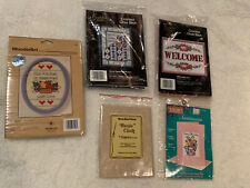 Lot Of 5 Cross Stitches Needlepoint - Welcome 7x5 Kit With Plastic Frame & Other