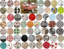 140CM ROUND CIRCLE TABLE CLOTHS PVC OIL VINYL CLOTH PLAIN PRINTED PARTY EVENTS