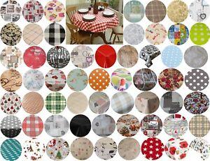 140CM ROUND CIRCLE TABLE CLOTHS PVC OIL VINYL CLOTH PLAIN PRINTED PARTY EVENTS