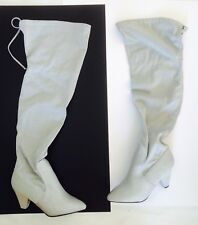 Large Size Ladies Silver Glitter Evening Thigh High Boots UK 11 Wide PLUS SIZE