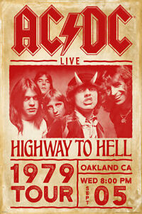 AC/DC POSTER 1979 HIGHWAY TO HELL TOUR OAKLAND CA NEW 24x36 FREE SHIP