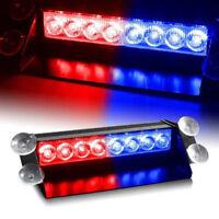 8LED Red/Blue Car Police Strobe Flash Light Dash Emergency 3 Flashing Lamp DC12V
