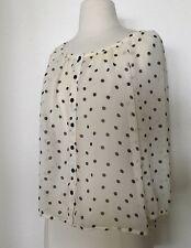 H&M Polka Dot Sheer Blouse Loose Fit 3/4 Sleeve Top Size 2