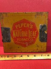 NICE OLD ORIGINAL PEPER's NATIONAL LEAF TOBACCO TIN.  Square Corner Seperate Lid