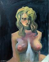 "Nude Female Girl Portrait Original Oil Painting, 16""x20"" Signed"