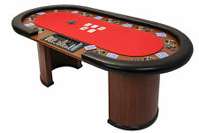 Riverboat Dealer Poker Table with Arc Legs in Red Speed Cloth and Armrest 213cm