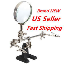 HELPING HAND MAGNIFIER 4X with 2 ALLIGATOR CLAMPS KIT SOLDERING 3rd HAND JEWELRY