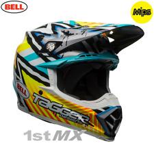 Bell Moto 9 Motocross Race Helmet Tagger Yellow Blue White XSmall 54-55cm