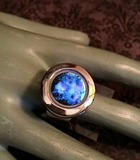 Adjustable Galaxy Nebula Glow In The Dark Locket Ring with Hidden Compartment