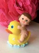 1Pc Baby Shower Duck Girl Cake Topper Decorations Animals Safari Figurines Pato