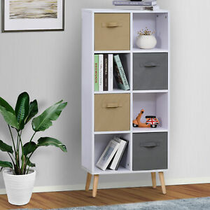 Freestanding 8 Cube Storage Cabinet Unit w/ 4 Drawers Bookcase Display Shelves