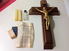 Vintage Wood Crucifix Holy Cross For the Sick with compartments