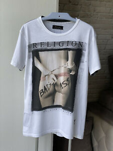 Religion T-Shirt Bad Ass SS Crew Neck White Size L