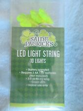 St Patricks Green Clover Fairy Lights 10 LED String 2AA Battery DIY Project New