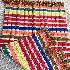 "Vintage Afghan Blanket Crotchet Throw Handmade Granny 45""x 60"" Multicolor Fringe"