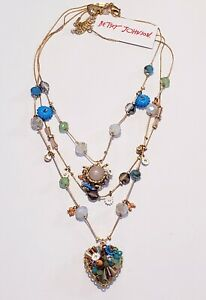 NWT Betsey Johnson Colorful Glass Bead Heart Pendant Layered Necklace