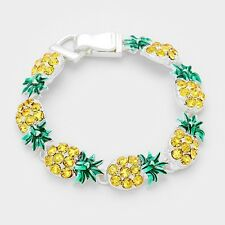 Pineapple Bracelet Magnetic Clasp Metal Link Tropical Sea Welcome SILVER Beach