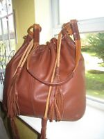 Lucky Brand  Slouchy/Boho  Hobo  Brown  Leather  Bag  with Tassels  EUC  $199.00