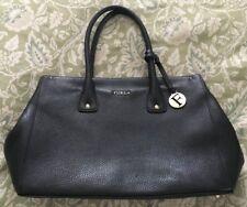 FURLA Black Leather LINDA Large Tote Bag Handbag-VERY NICE