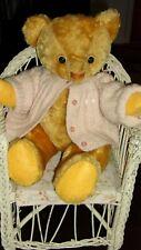 "vintage golden mohair 15"" American Teddy bear-mid century n antique baby sweater"