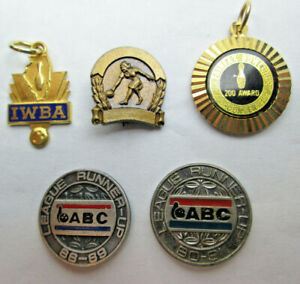Lot of 5 Bowling Pins and Pendants IWBA - Fairfax Center 200 Award - ABC League