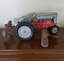 Vintage HUBLEY Toy BIG Red Diecast Farm Tractor & Implement Set. Very well used